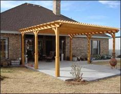"""16' x 20' Treated Pine 2-Beam Pergola with optional 36"""" tall post bases, top runner spacing of 6"""", and customer's stain/sealer."""