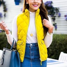 Get sunny on a Monday by layering up in @fashionandfrills' colorful quilted vest over a denim mini | Shop the look with www.LIKEtoKNOW.it | www.liketk.it/1VOhx #liketkit by liketoknow.it