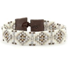 Cream Mix Single Wrap Bracelet on Brown Leather - Chan Luu