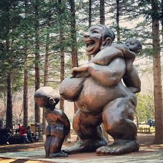 What a joyous statue! :) I had moments where I felt this way (probably not as happy) when tandem nursing. Tandem, Breastfeeding Twins, Breastfeeding Images, Nami Island, Attachment Parenting, Sculpture, Twin Babies, Illustrations, Triplets