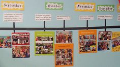 Create a classroom timeline using pictures and events from the school year. In our case, timeline of the department and main events/occurrences that have happened tying it all together Classroom Timeline, Year 6 Classroom, Ks1 Classroom, Classroom Setting, Classroom Setup, Classroom Displays Eyfs, Reception Classroom Ideas, Pre School Classroom Ideas, Classroom Decor Primary