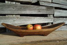 Carved Wood Bowl Table Centerpiece Fruit Hand Gifts For Him Wooden Black Walnut