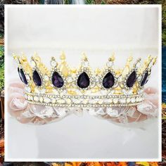 Harosy Purple Baroque Crowns Wedding Crystal Gold Tiaras and Crowns for Brides Rhinestone Bridal Queen Crowns for Halloween Costume Party Prom Queen Tiaras Hair Accessories for Women and Girls (This is an affiliate pin) #haircare #headbands Queens Tiaras, Fashion Headbands, Gold Tiara, Tiara Hairstyles, Prom Queens, Headband Styles, Halloween Party Costumes, Halloween Accessories, Tiaras And Crowns