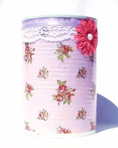 Decorative Upcycled Pink Shabby Flower Tin Can by SulasCreations