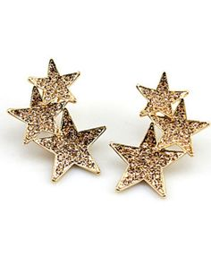 Rhinestone Decorated Star Pattern Ear Stud
