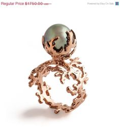 ROSE CORAL Tahitian Pearl Ring, Pearl Engagement Ring in Rose Gold by arosha Tahitian Pearl Ring, Rose Gold Pearl, Tahitian Pearls, Pearl Jewelry, Jewelry Rings, Fine Jewelry, Jewellery, Coral Ring, Italian Jewelry