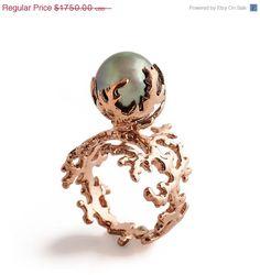 Holiday SALE ROSE CORAL Tahitian Pearl Ring Pearl by arosha, $1400.00