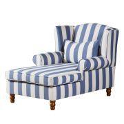 Ohrensessel Colmar XXL - Webstoff Blau gestreift Sofa Design, Black And White Furniture, Cozy Furniture, Textiles, White Houses, Girl Nursery, Room Inspiration, Grey And White, Armchair