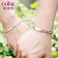 Coise Couple Bracelets, Personalized ID Tag Name Bracelets Set, Curb Link Engravable Bracelet in Sterling Silver, Matching His and Hers Jewelry for Couples - FREE Engraving