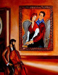 """Serenade to Modi and Jeanne, Modigliani,"""" Museum Painting,"""" by k Madison Moore"""