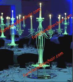 Illuminated Acrylic Chandeliers As Table Decor At Night Wedding  #unlimitedromance