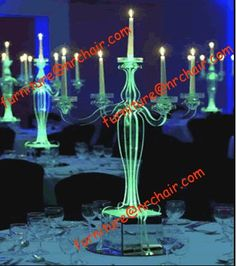 Illuminated acrylic chandeliers as table decor at night wedding #unlimitedromance