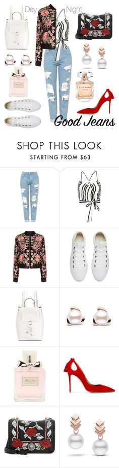 """""""Double Duty - Distressed Denim"""" by miss-meredith ❤ liked on Polyvore featuring Topshop, Alice + Olivia, Needle & Thread, Converse, French Connection, Christian Dior, Aquazzura, Miu Miu, Escalier and Elie Saab"""