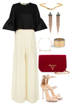 Untitled #2280 by moxieremon on Polyvore featuring polyvore fashion style Paper London Giuseppe Zanotti Prada Accessorize Jennifer Fisher Maria Black clothing
