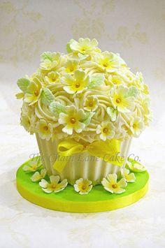 Primrose Giant Cupcake Large Cupcake Cakes, Big Cupcake, Giant Cupcakes, Yummy Cupcakes, Ladybug Cupcakes, Kitty Cupcakes, Snowman Cupcakes, Lane Cake, Cake & Co