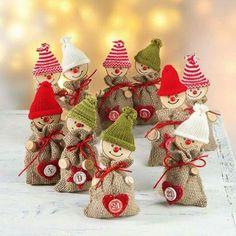 Bastelanleitung - Jutewichtel Adventskalender tinker christmas decorations with seniors Diy Christmas Ornaments, Diy Christmas Gifts, Diy And Crafts, Christmas Crafts, Diy Advent Calendar, Kids Calendar, Printable Calendar Template, Theme Noel, Xmas Decorations