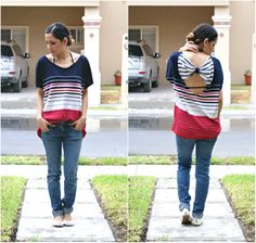 Clo By Clau!: DIY: Transform an Oversized top into a Bow Back Top