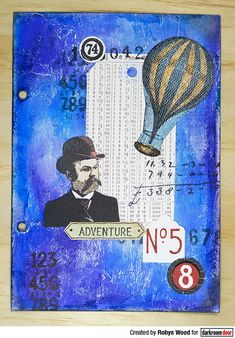 Art journal page by Robyn Wood using Darkroom Door Number Medley and Steampunk Stamp Sets