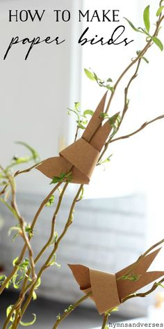 How to make a paper bird for your spring decor. Add these paper birds to branches place one in a nest or use as place cards for Easter or Mother's Day! Paper Birds, Paper Flowers, Craft Day, E Craft, Diy And Crafts, Crafts For Kids, Deco Floral, Idee Diy, Spring Crafts