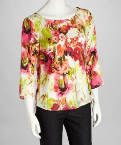 Take a look at this Cream & Pink Floral Top by Sunny Leigh on #zulily today!