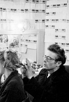 James Dean with Geraldine Page in her dressing room, 1955.