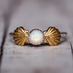 Mermaid Sea Shells and Opal Ring | Bohemian Jewelry | Indie and Harper