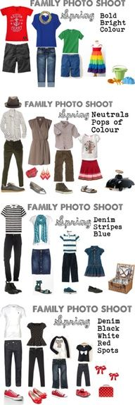Cute ideas for what to wear for a spring family photo shoot. I like how there are prints incorporated and not just plain shirts for everyone. Family Portrait Outfits, Family Picture Outfits, Family Portraits, Clothing Photography, Family Photography, Photography Tips, Photography Outfits, Light Photography, Foto Fun