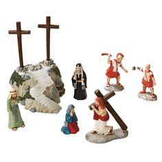Jesus Christ Rugged Cross Scene Set of Resin Figurines