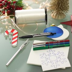 Create your own decorations this year with just a few simple items: Pilot Precise pens, foam board, and ribbon!