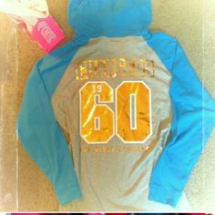 VS Pink  Chargers Hoodie NWT  Victoria  Secret  Pink San Diego Chargers Hoodie.  Has gold foil lettering  on front and back.    Size Large - oversized  and tunic length.  Perfect for leggings!  No trades!   Firm  price  please PINK Victoria's Secret Tops Sweatshirts & Hoodies