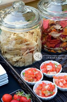 Cookout Ideas for Summer - like chips in glass lid jars!  Will hopefully keep them from getting soft in humidity.