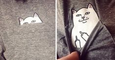 Cute Kitty T-shirt with a hidden message.   We're huge fans of creative t-shirts in all their shapes and forms, but even we were surprised by the cute-but-nasty secret hidden in this awesome t-shirt's breast pocket. The shirt was designed by Ripndip, a skateboarding apparel label that has a mischievous cat mascot named Lord Nermal.