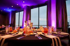 elegant dinner table | elegant wedding decor | modern wedding decor | uplighting ideas | Photographer: Matthew Druin