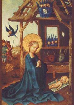 Aanbidding van het kind van Stefan Lochner op postkaart