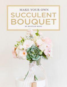 Make Your Own Succulent Bouquet   DIY Succulent Bouquet   Afloral.com Diy Wedding Bouquet, Spring Wedding Flowers, Diy Bouquet, Bridal Bouquets, Peach Bouquet, Silk Flower Bouquets, Silk Flowers, Fake Flowers, Artificial Flowers