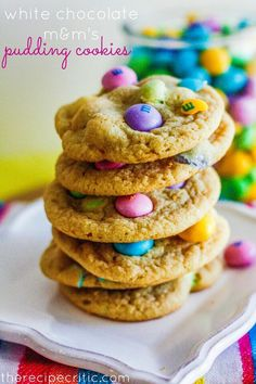 White chocolate M pudding cookies
