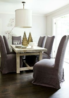 Melanie Turner Interiors Gorgeous Eclectic Dining Room Design With Purple  Linen Slip Covered Dining Chairs, Rustic Dining Table, White Linen Drum  Pendant ...