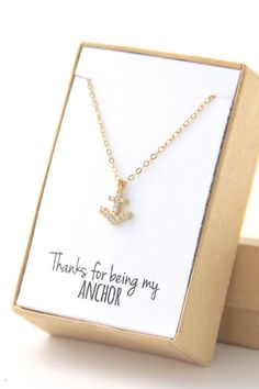 Tiny Anchor Necklace  Cubic Zirconia Necklace