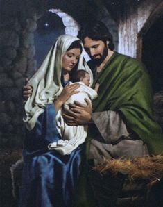 Mary and Joseph with the baby Jesus - the Holy Family Pictures Of Christ, Religious Pictures, Holy Family Pictures, Baby Jesus Pictures, Family Images, Art Pictures, Blessed Mother Mary, Blessed Virgin Mary, Catholic Art
