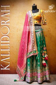Traditional hues juxtaposed with modern touch. - Traditional hues juxtaposed with modern touch. Saree Tassels Designs, Lehenga Designs, Lehenga Saree, Bridal Lehenga, Ethinic Wear, Bridal Elegance, Indian Ethnic Wear, Indian Designer Wear, Indian Outfits