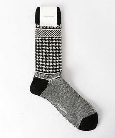 UNITED ARROWS MENS(ユナイテッドアローズメンズ)のUSOS ハウンドトゥース ソックス(ソックス/靴下)|ブラック