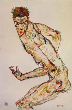Egon Schiele - Fighter, 1913...hmm i want to elongate figures too