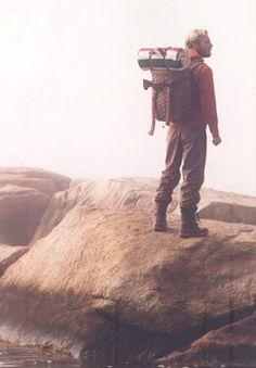 hiking, nature, adventure, man, backpack, ax, climbing, rocks, outdoors,