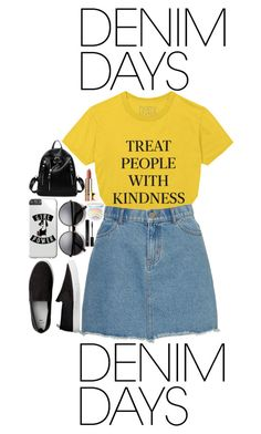 """denim"" by cris05 on Polyvore featuring Too Faced Cosmetics, Forever 21 and denimskirts"