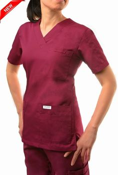 520T Burgundy  -V-Neck Solid Scrub Top -  This classic solid color v-neck scrub top is great for those who need to carry as many accessories as possible. A total of 6 front pockets, 5 in front and 1 shoulder pen pocket offer a home for everything you need to carry throughout the day.  Poly/Cotton 65/35 Medical Scrubs, Scrub Tops, Caregiver, Nursing, Long Sleeve Tees, Burgundy, V Neck, Pockets, Shoulder