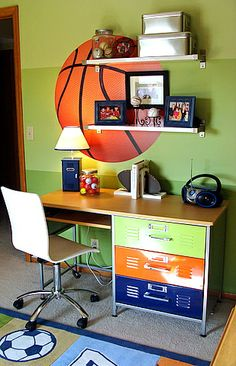 Sherwin Williams 6708 6709 and 6710--Springtime, Gleeful, and Melange Green I love the desk drawers...could paint dresser drawers like these to look like locker drawers!