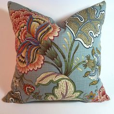 Multi colored linen pillow cover on Etsy, $25.00