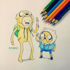 #Finn wearing a #Jake onesie and vice versa. #AdventureTime #Crayola…