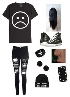"""Emo look"" by astonehouse ❤ liked on Polyvore featuring Marc by Marc Jacobs, Glamorous, Converse, Oasis and Valentino"