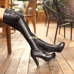 Womens High Heel Pu Leather Platform Over He Knee High Boots Winter Thight Boots Thigh High Platform Boots, Black Thigh High Boots, High Heel Boots, Leather Over The Knee Boots, Black Leather Boots, Pu Leather, Stripper Heels, Fashion Boots, High Fashion